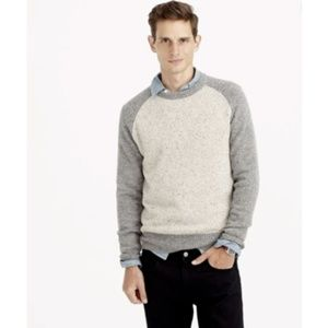 [J.Crew] Donegal Wool Tan Gray Baseball Sweater